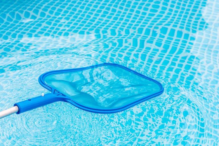 Pool care with landing net to remove impurities